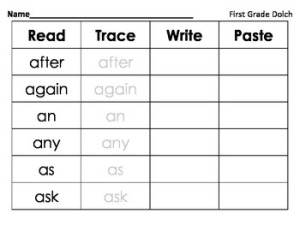 http://www.teacherspayteachers.com/Product/Read-Trace-Write-Paste-First-Grade-Dolch-974007