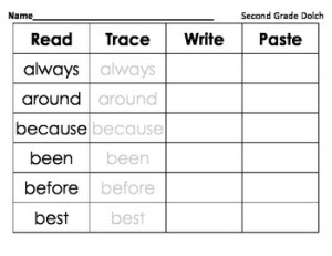 http://www.teacherspayteachers.com/Product/Read-Trace-Write-Paste-Second-Grade-dolch-974800